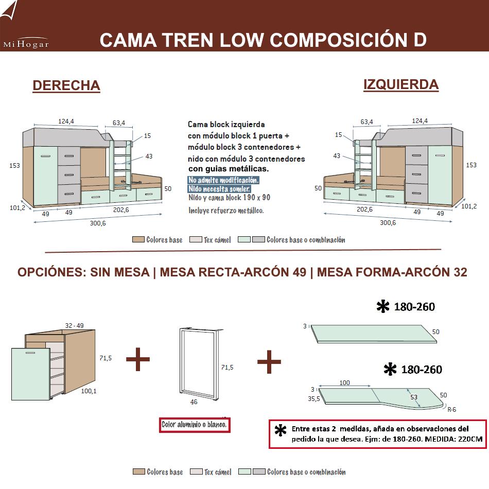 MEDIDAS CAMAS TREN COMPOSICION D DORMITORIO JUVENIL LOW