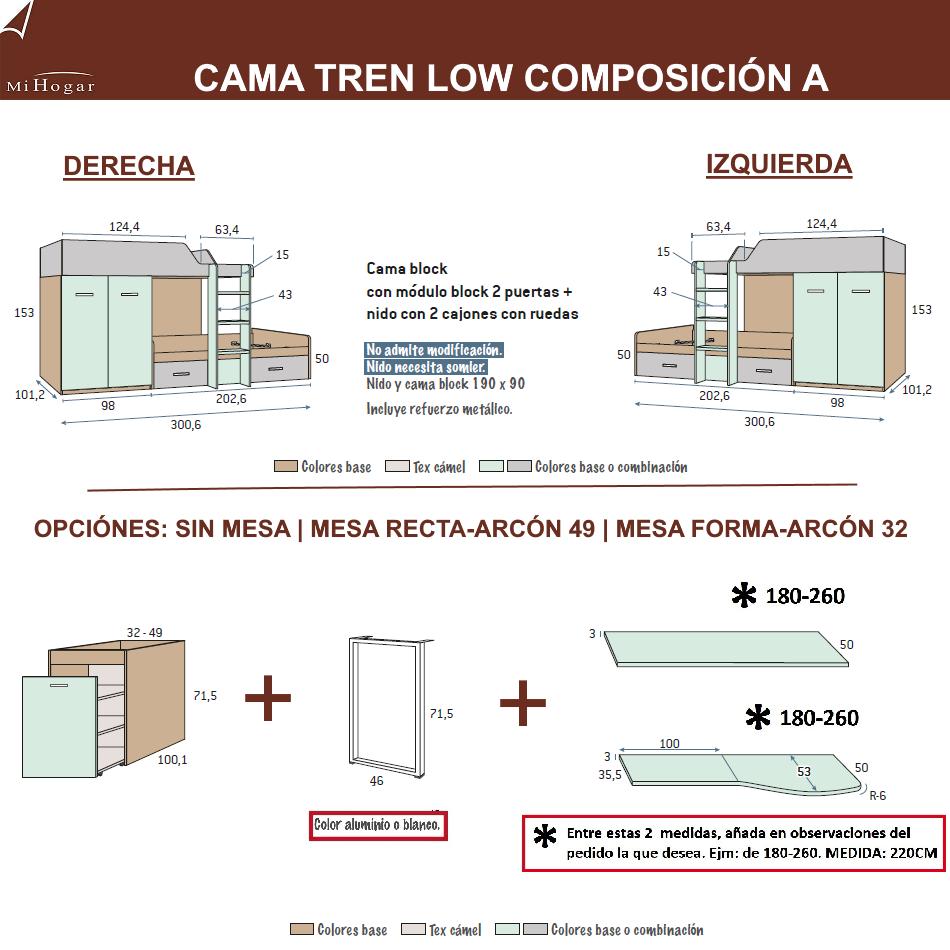 MEDIDAS CAMASTREN COMPOSICION A DORMITORIO JUVENIL LOW