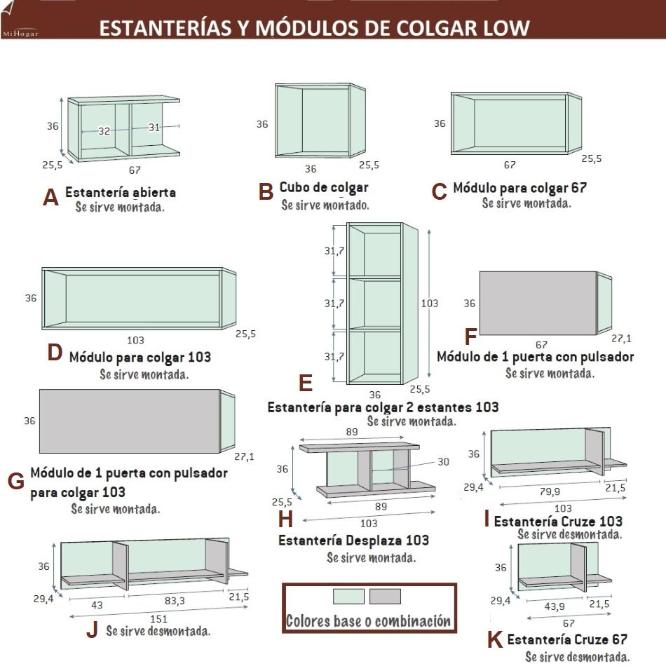 MEDIDAS ESTANTERÍAS-MÓDULOS-COLGAR LOW