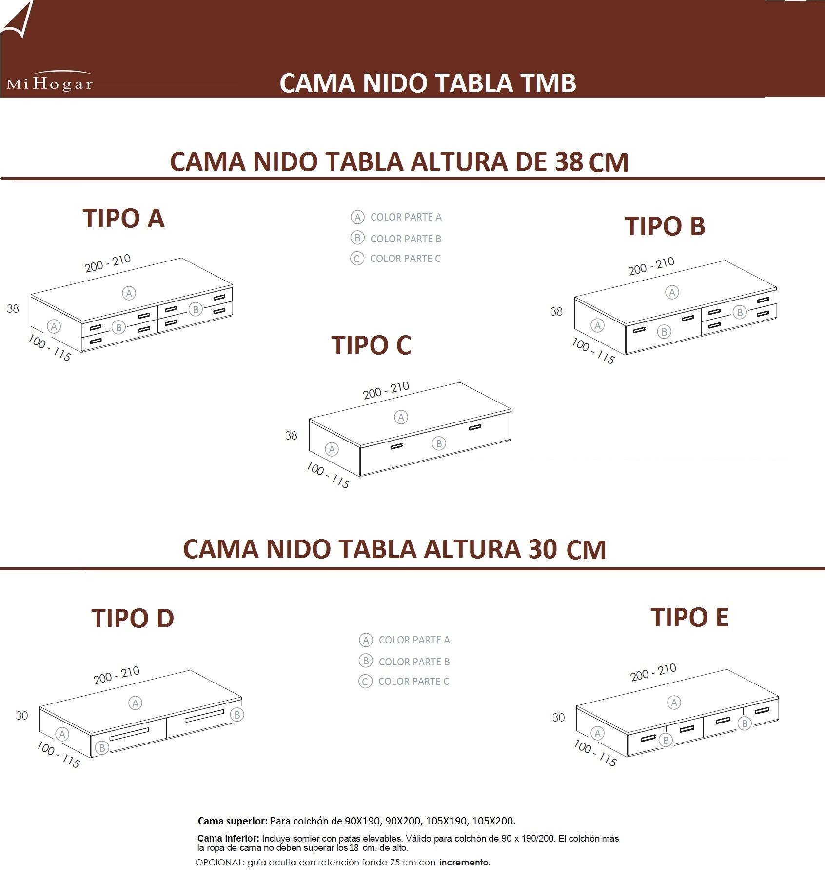 CAMA NIDO TABLA TMB | MUEBLES MI HOGAR