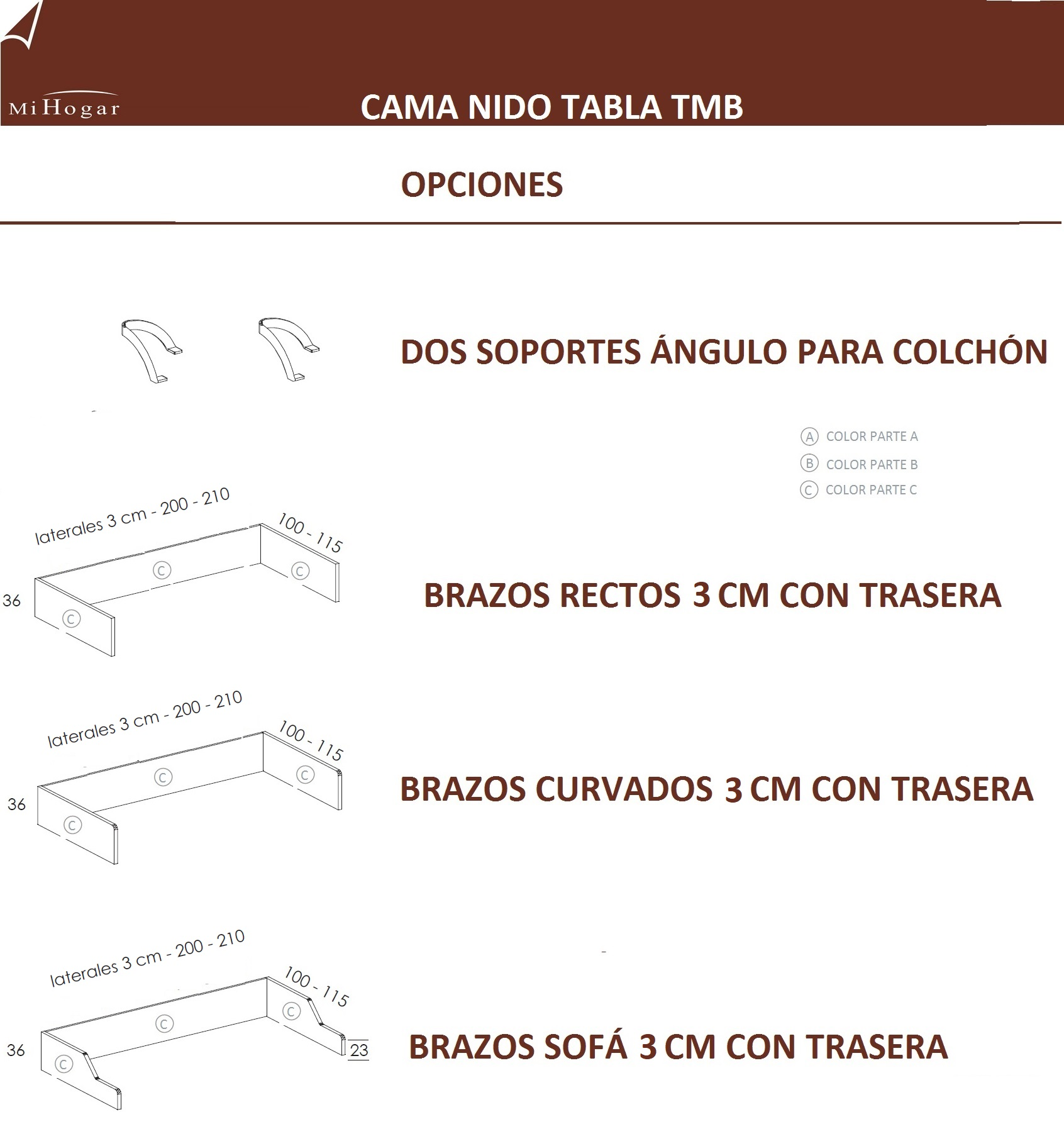 Cama nido tabla tmb muebles mi hogar for Que medidas tiene una cama semidoble
