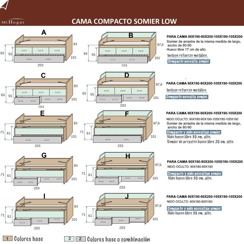 Cama compacto somier low muebles mi hogar - Medidas cama 90 ...