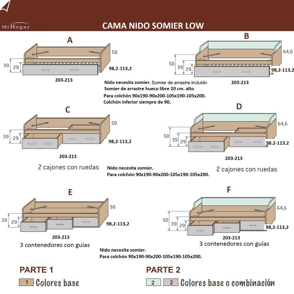 Cama nido somier low muebles mi hogar for Medidas de cama matrimonial y queen size