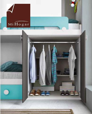 armario cama tren dormitorio infantil low