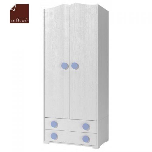 armario con cajones blanco azul dormitorio infantil mvs