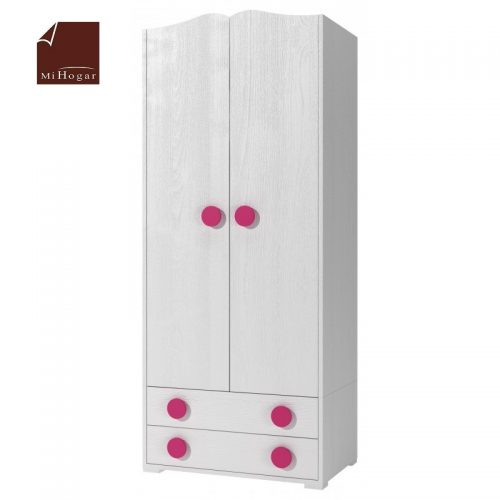 armario con cajones blanco rosa dormitorio infantil mvs
