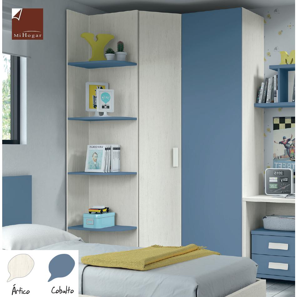 armario rincón puerta chaflán recta lisa dormitorios juvenil low