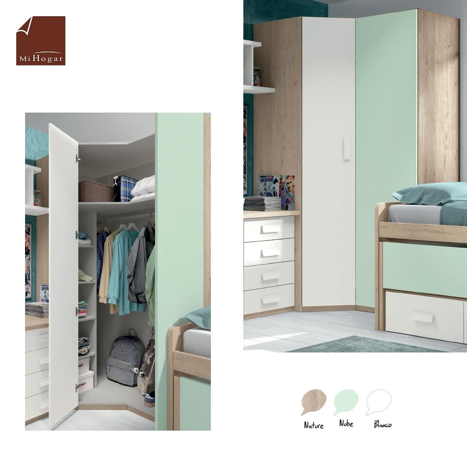 armario rincón puerta chaflán recta lisa dormitorios juveniles low