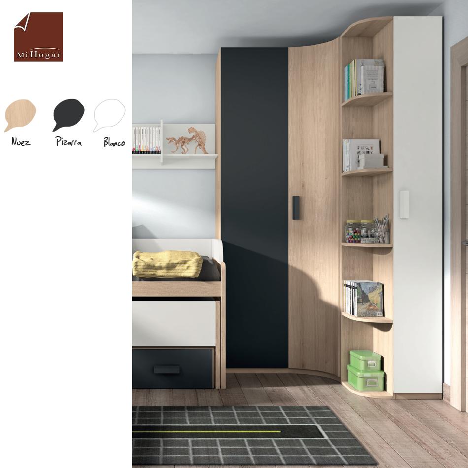 Armario rinc n puerta curva low muebles mi hogar for Dormitorios con armarios rinconeros