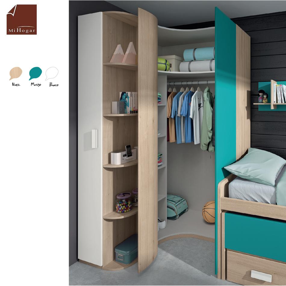 Armario rinc n puerta curva low muebles mi hogar for Dormitorios juveniles sin armario