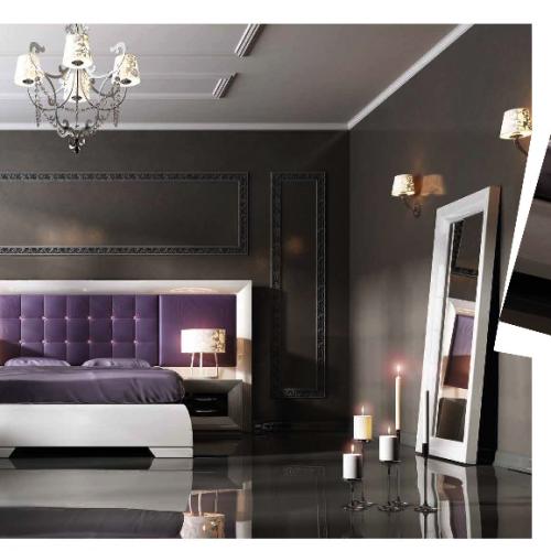 cabecero tapizado morado dormitorio matrimonio fomar