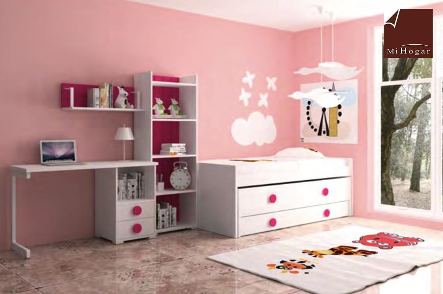 cama compacto estanteria mesa estudio dormitorios infantiles mvs