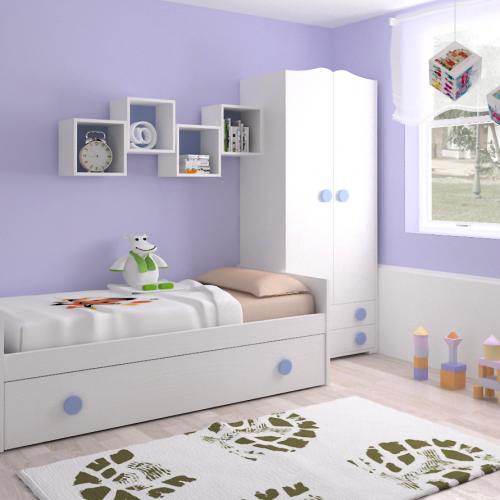cama nido armario estantes dormitorio infantil mvs