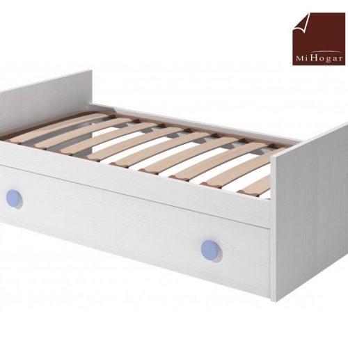 cama nido con somier de arrastre elevable blanco azul dormitorio infantil mvs