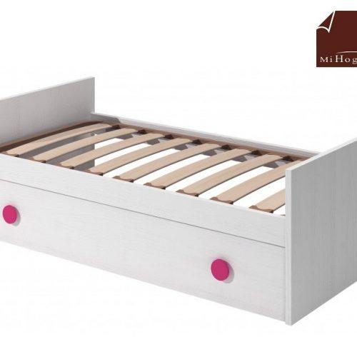 cama nido con somier de arrastre elevable blanco rosa dormitorio infantil mvs