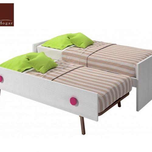 cama nido con somier de arrastre elevable blanco rosa dormitorios infantil mvs