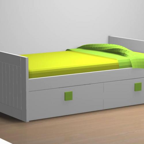 cama nido tabla 2 cajones tirador verde dormitorio infantil malaca