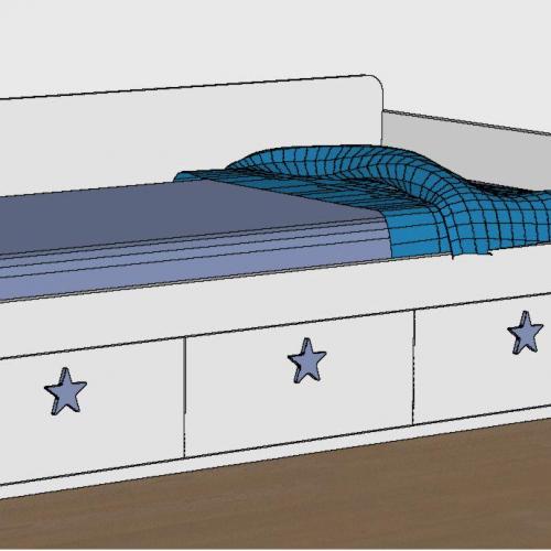 cama nido tabla 3 cajones brazo ranurado trasera dormitorio infantil malaca
