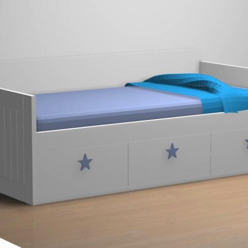 cama nido tabla 3 cajones tirador azul dormitorio infantil malaca