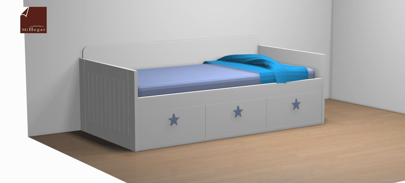 cama nido tabla cajones tirador azul dormitorio infantil malaca