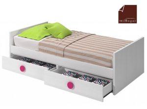 cama nido tabla con cajones de arrastre blanco rosa dormitorio infantil mvs