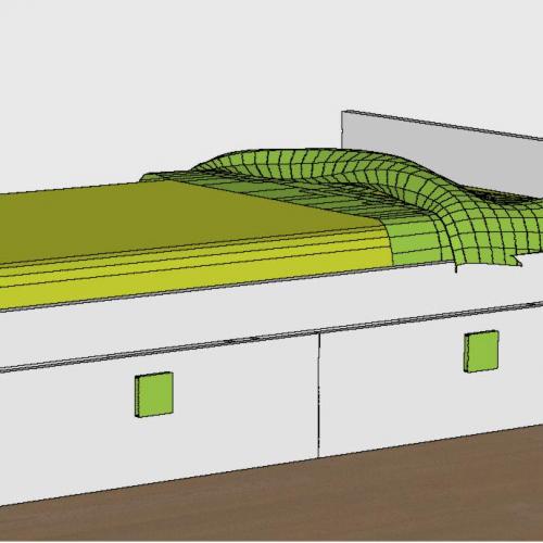 cama nido tabla dos cajones tirador verde brazo ranurado dormitorio infantil malaca
