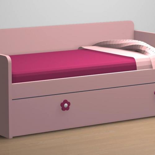 cama nido tabla somier de arrastre rosa trasera dormitorio infantil malaca