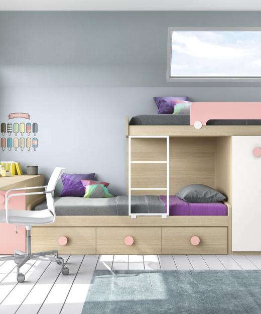 Literas lacadas malaca muebles mi hogar for Dormitorios juveniles literas tren