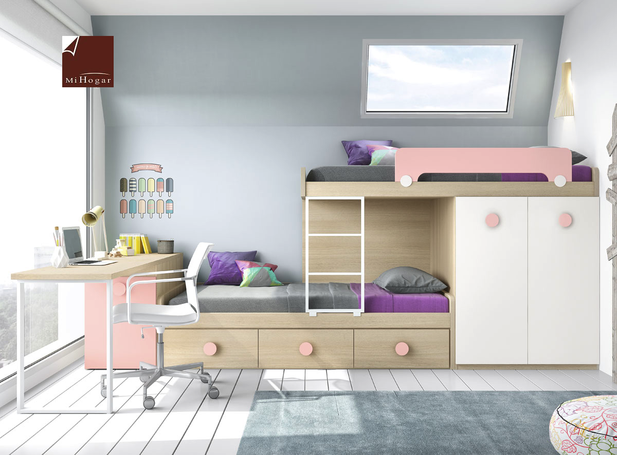 Cama tren low muebles mi hogar for Dormitorios juveniles tipo tren