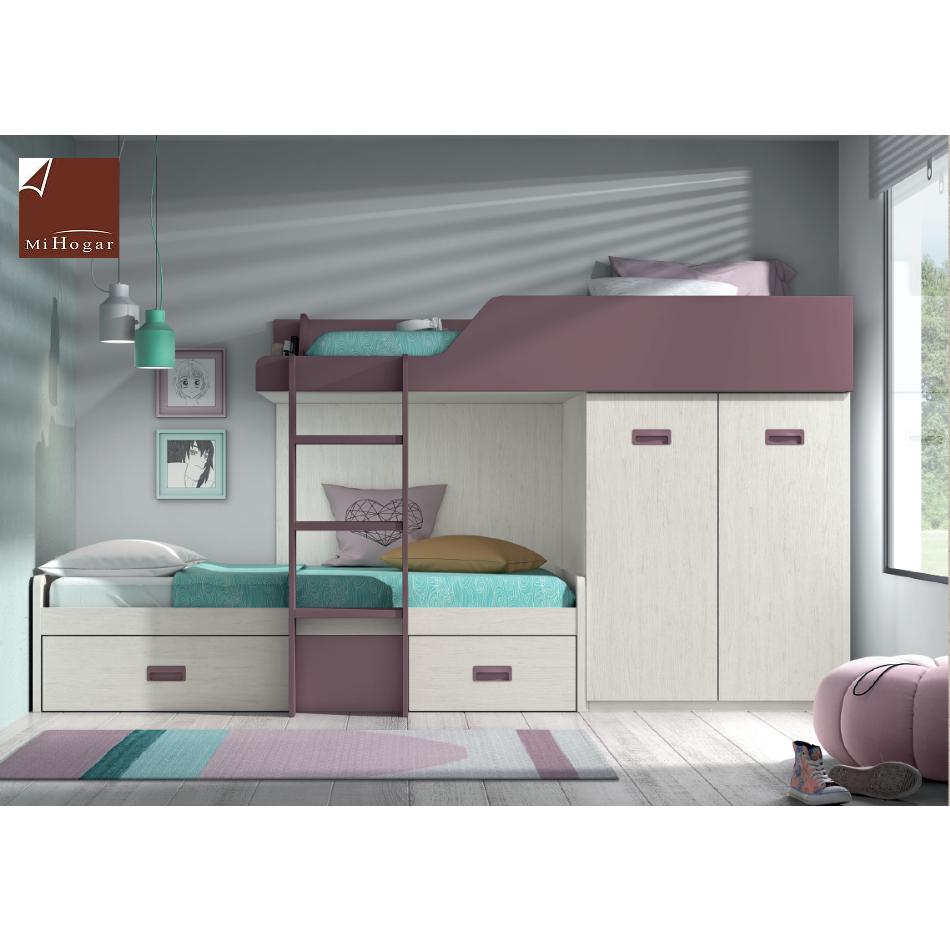 cama tren coposición a dormitorio juvenil low