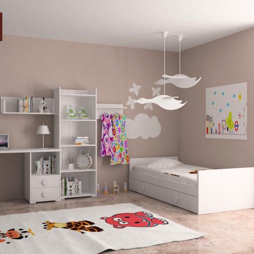 estanteria cama nido mesa de estudio perchero dormitorio infantil mvs