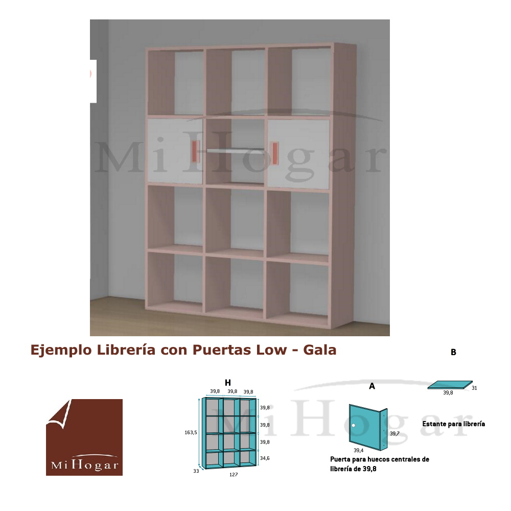 libreria con puertas dormitorio juvenil low