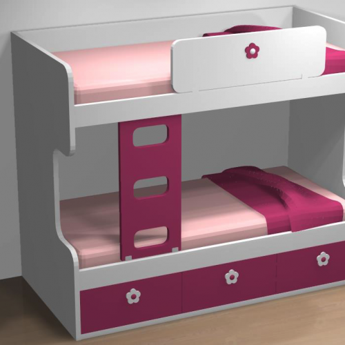 litera cama nido rosa dormitorios infantiles malaca