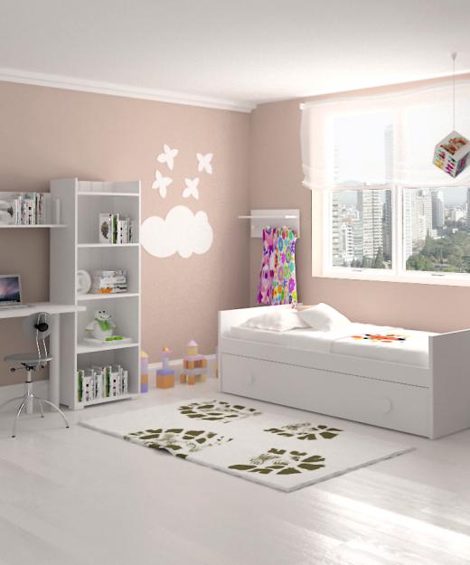 mesa estudio cama nido estanterio dormitorio infantil mvs