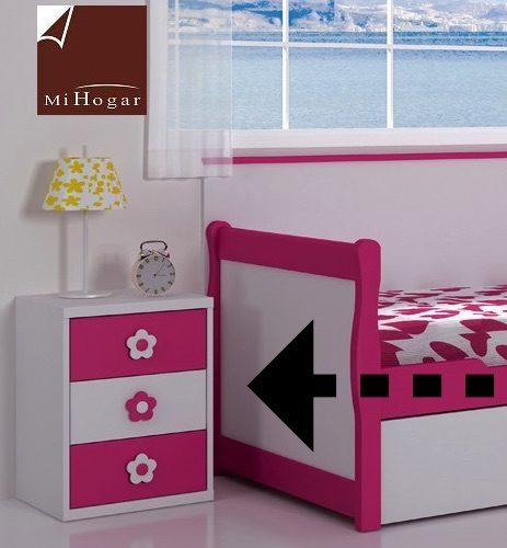 mesita 3 cajones blanco rosa dormitorio infantil
