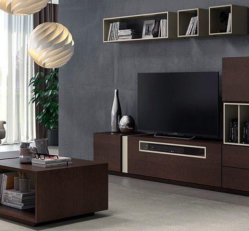 salón comedor mueble televisión madera