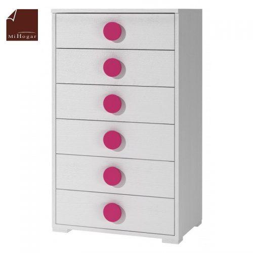 sinfonier cajones blanco rosa dormitorio infantil mvs