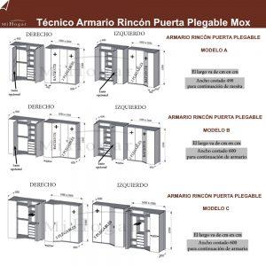 técnico armario rincón plegable dormitorio juvenil mox