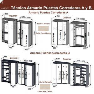 técnico armario rincón puertas correderas dormitorio juvenil mox A y B