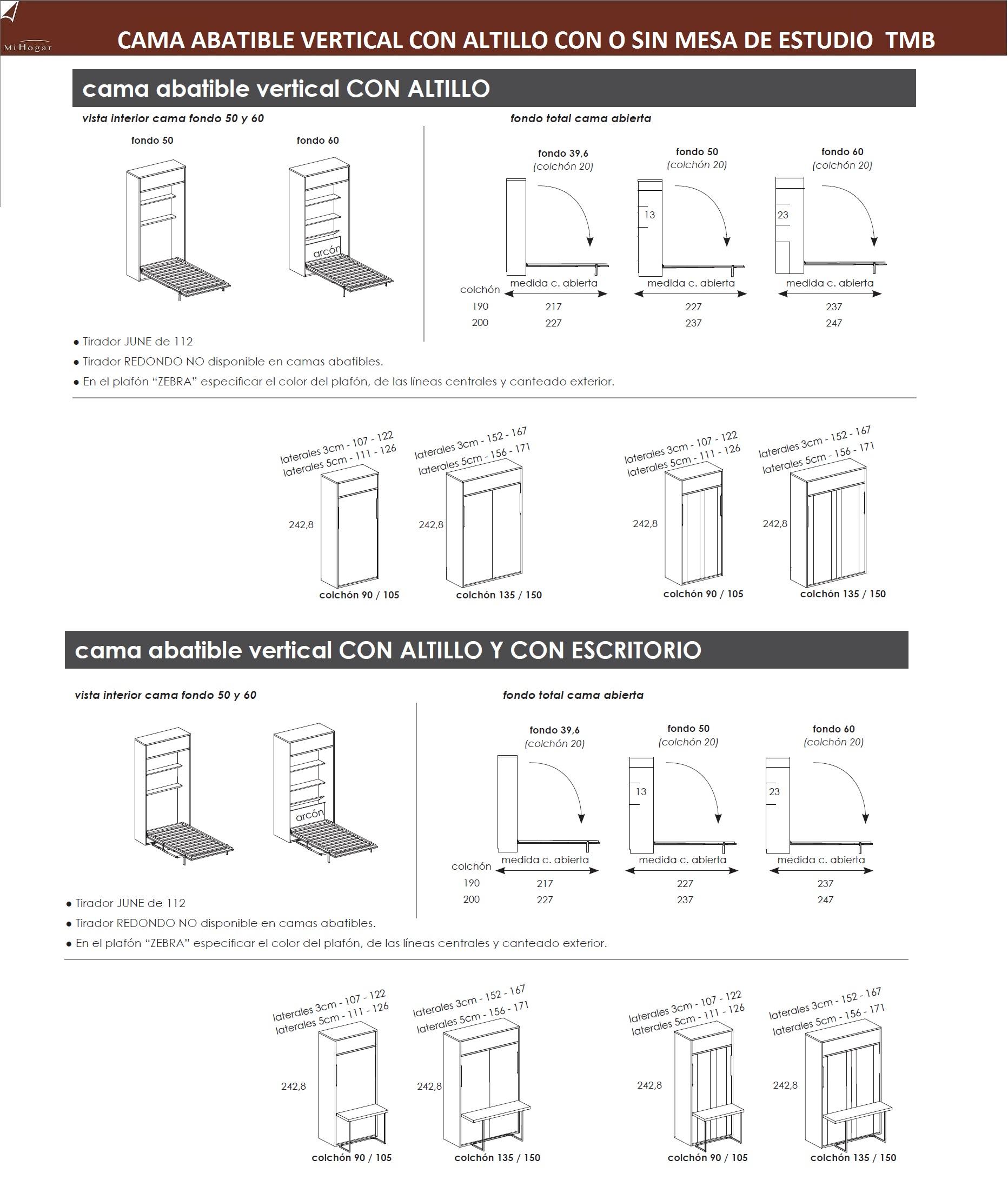 Cama abatible vertical con o sin mesa de estudio muebles - Sistema cama abatible ...