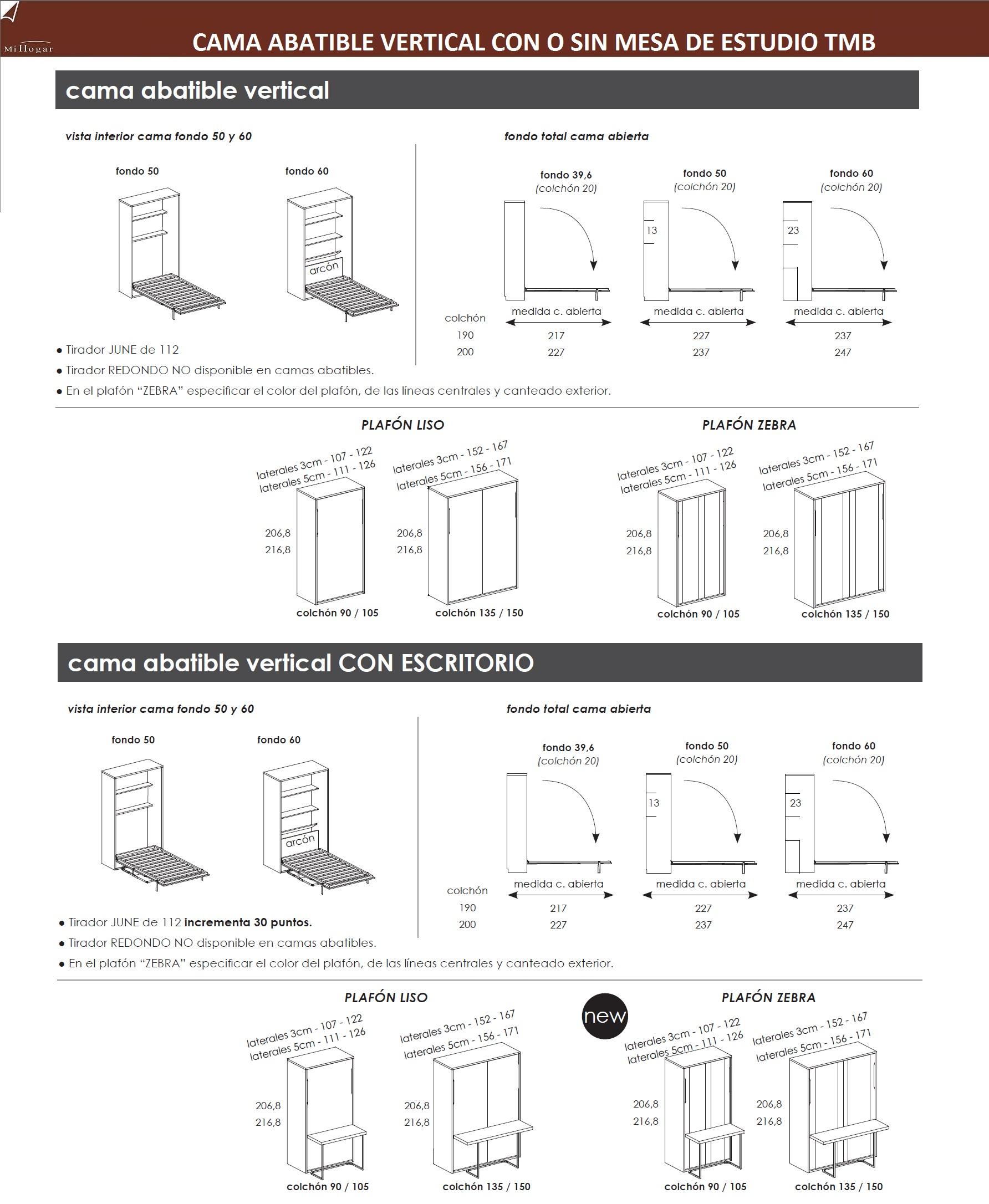 Cama abatible vertical con o sin mesa de estudio muebles - Mesas de estudio abatibles ...