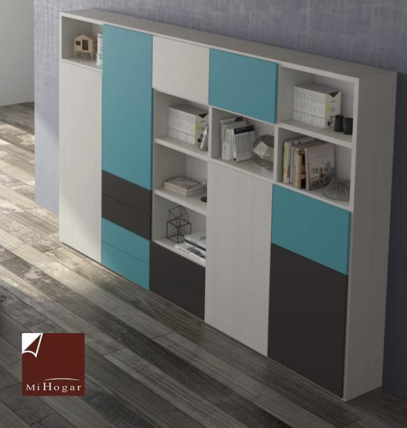 estantería librería con puertas batientes y trasera dormitorio juvenil homelike