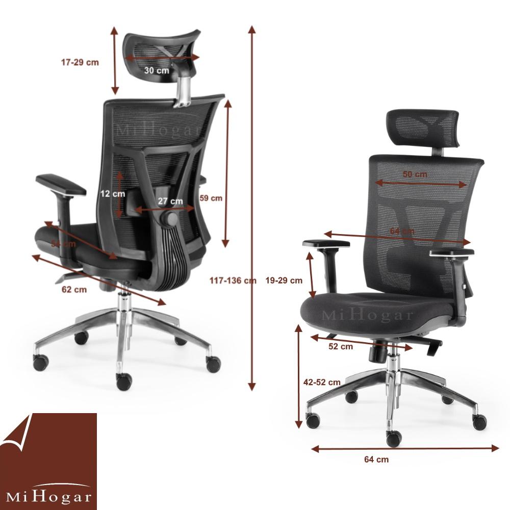 Silla oficina ergonomic muebles mi hogar for Medidas de muebles para oficina