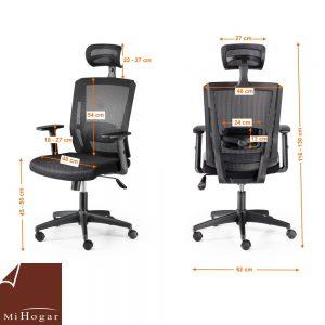 silla oficina lumbar reposacabezas desk medidas