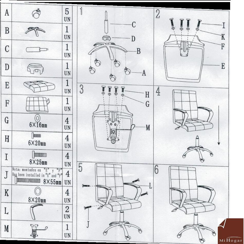 instrucciones de montaje silla escritorio piel marron sin-con ruedas