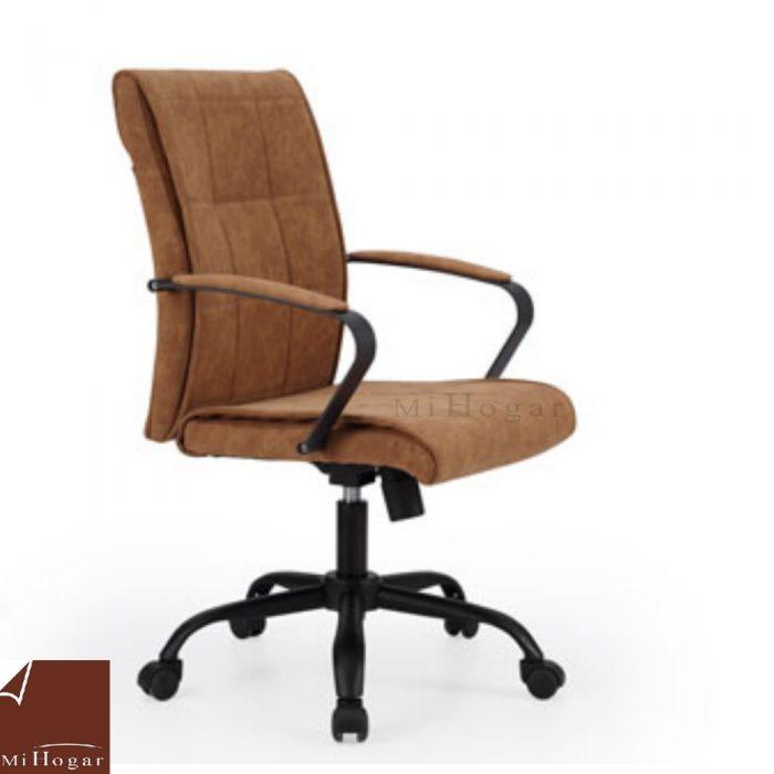 Silla escritorio piel marr n muebles mi hogar for Silla escritorio sin ruedas