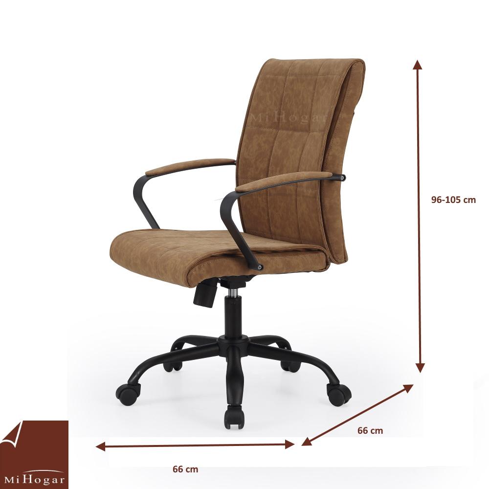 Silla escritorio piel marr n muebles mi hogar for Sillas de escritorio sodimac