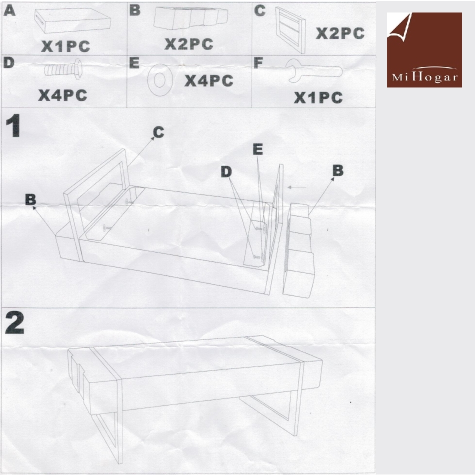 instrucciones de montaje mesa centro industrial vigas