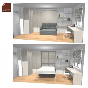 dormitorio a medida con cama abatible con sofa
