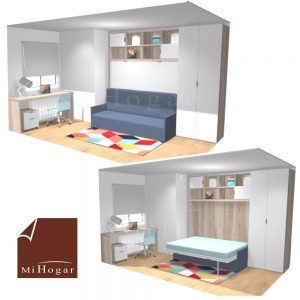 dormitorio a medida con cama abatible horizontal con sofa